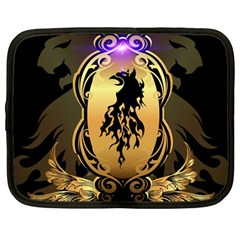 Lion Silhouette With Flame On Golden Shield Netbook Case (Large)