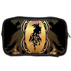 Lion Silhouette With Flame On Golden Shield Toiletries Bags