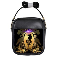 Lion Silhouette With Flame On Golden Shield Girls Sling Bags