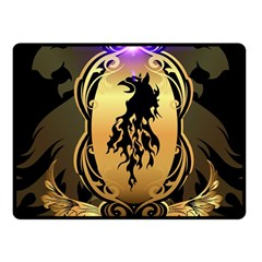 Lion Silhouette With Flame On Golden Shield Fleece Blanket (Small)