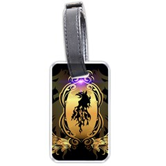 Lion Silhouette With Flame On Golden Shield Luggage Tags (One Side)