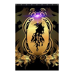 Lion Silhouette With Flame On Golden Shield Shower Curtain 48  X 72  (small)