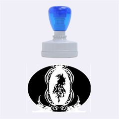 Lion Silhouette With Flame On Golden Shield Rubber Oval Stamps