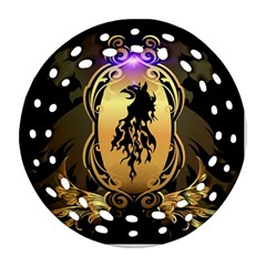 Lion Silhouette With Flame On Golden Shield Ornament (round Filigree)