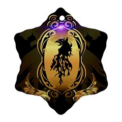Lion Silhouette With Flame On Golden Shield Ornament (Snowflake)