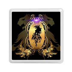 Lion Silhouette With Flame On Golden Shield Memory Card Reader (square)