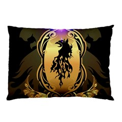 Lion Silhouette With Flame On Golden Shield Pillow Cases (Two Sides)