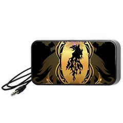 Lion Silhouette With Flame On Golden Shield Portable Speaker (Black)