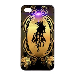 Lion Silhouette With Flame On Golden Shield Apple iPhone 4/4s Seamless Case (Black)