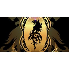 Lion Silhouette With Flame On Golden Shield You Are Invited 3d Greeting Card (8x4)