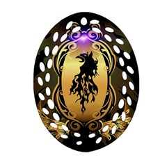 Lion Silhouette With Flame On Golden Shield Ornament (Oval Filigree)