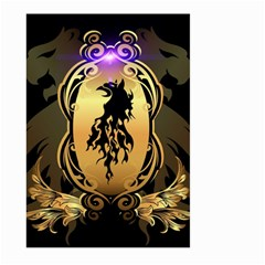 Lion Silhouette With Flame On Golden Shield Large Garden Flag (two Sides)