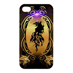 Lion Silhouette With Flame On Golden Shield Apple iPhone 4/4S Premium Hardshell Case
