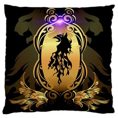 Lion Silhouette With Flame On Golden Shield Large Cushion Cases (One Side)