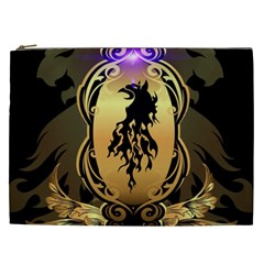 Lion Silhouette With Flame On Golden Shield Cosmetic Bag (XXL)