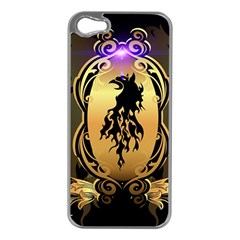 Lion Silhouette With Flame On Golden Shield Apple iPhone 5 Case (Silver)