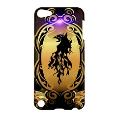 Lion Silhouette With Flame On Golden Shield Apple iPod Touch 5 Hardshell Case