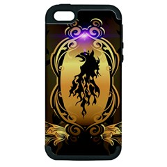 Lion Silhouette With Flame On Golden Shield Apple iPhone 5 Hardshell Case (PC+Silicone)