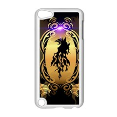 Lion Silhouette With Flame On Golden Shield Apple iPod Touch 5 Case (White)
