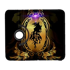 Lion Silhouette With Flame On Golden Shield Samsung Galaxy S  III Flip 360 Case