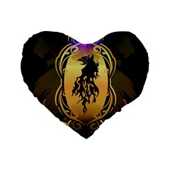 Lion Silhouette With Flame On Golden Shield Standard 16  Premium Heart Shape Cushions