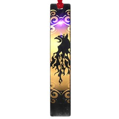 Lion Silhouette With Flame On Golden Shield Large Book Marks