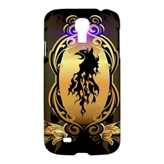Lion Silhouette With Flame On Golden Shield Samsung Galaxy S4 I9500/I9505 Hardshell Case