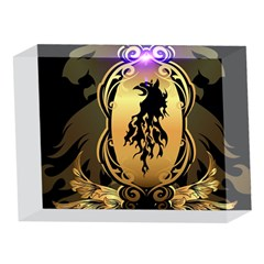Lion Silhouette With Flame On Golden Shield 5 x 7  Acrylic Photo Blocks