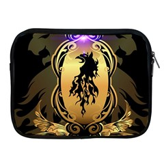 Lion Silhouette With Flame On Golden Shield Apple iPad 2/3/4 Zipper Cases