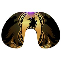 Lion Silhouette With Flame On Golden Shield Travel Neck Pillows