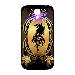 Lion Silhouette With Flame On Golden Shield Samsung Galaxy S4 I9500/I9505  Hardshell Back Case