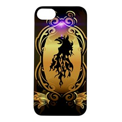 Lion Silhouette With Flame On Golden Shield Apple iPhone 5S Hardshell Case