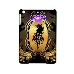Lion Silhouette With Flame On Golden Shield iPad Mini 2 Hardshell Cases