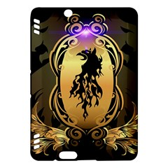 Lion Silhouette With Flame On Golden Shield Kindle Fire HDX Hardshell Case