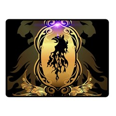 Lion Silhouette With Flame On Golden Shield Double Sided Fleece Blanket (Small)