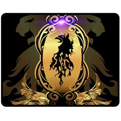 Lion Silhouette With Flame On Golden Shield Double Sided Fleece Blanket (Medium)