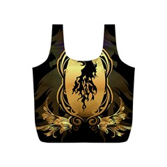Lion Silhouette With Flame On Golden Shield Full Print Recycle Bags (S)