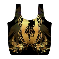 Lion Silhouette With Flame On Golden Shield Full Print Recycle Bags (L)