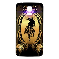 Lion Silhouette With Flame On Golden Shield Samsung Galaxy S5 Back Case (White)