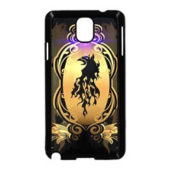 Lion Silhouette With Flame On Golden Shield Samsung Galaxy Note 3 Neo Hardshell Case (black)
