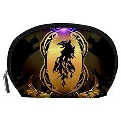 Lion Silhouette With Flame On Golden Shield Accessory Pouches (Large)