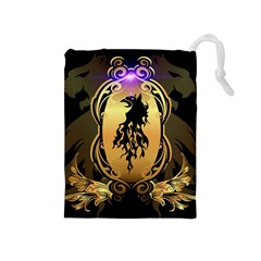 Lion Silhouette With Flame On Golden Shield Drawstring Pouches (Medium)