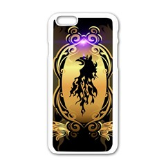 Lion Silhouette With Flame On Golden Shield Apple iPhone 6/6S White Enamel Case