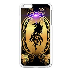 Lion Silhouette With Flame On Golden Shield Apple iPhone 6 Plus/6S Plus Enamel White Case