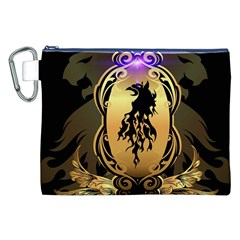 Lion Silhouette With Flame On Golden Shield Canvas Cosmetic Bag (XXL)