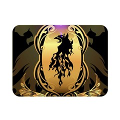 Lion Silhouette With Flame On Golden Shield Double Sided Flano Blanket (Mini)