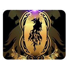 Lion Silhouette With Flame On Golden Shield Double Sided Flano Blanket (Large)