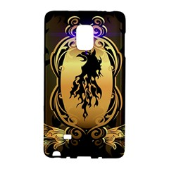 Lion Silhouette With Flame On Golden Shield Galaxy Note Edge