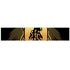 Lion Silhouette With Flame On Golden Shield Flano Scarf (Large)
