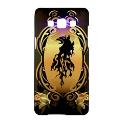 Lion Silhouette With Flame On Golden Shield Samsung Galaxy A5 Hardshell Case